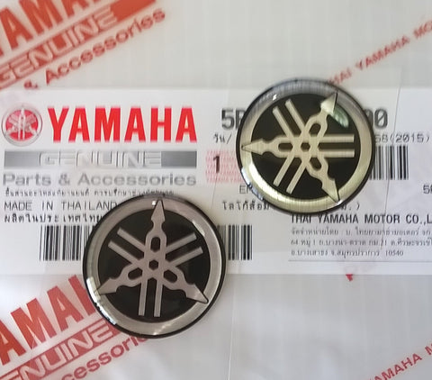 1 x YAMAHA FLAT /& THIN GENUINE 45mm TUNING FORK BLACK SILVER STICKER BADGE