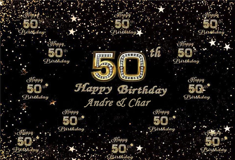 Step and Repeat Photo Backdrop, Custom 50th Birthday Backdrop C1