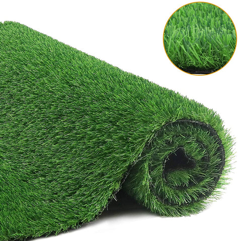 Grass Mat Rug, Synthetic Grass Turf with Drainage Holes, Faux Grass Carpet Decor for Indoor Outdoor Garden