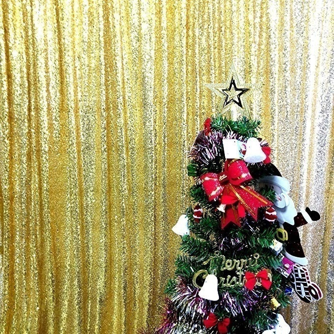 Gold Sequin Farbic Backdrop for Party Prom Decorations SE-1