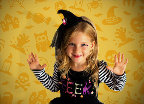 Yellow Pumpkin Halloween Backdrop for Children Photography   DBD-19001