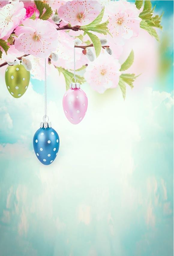 Happy Easter Backdrop Easter Eggs for Photography LV-1586
