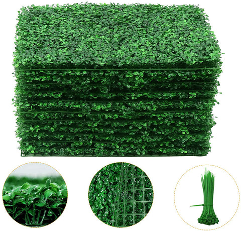 Artificial Boxwood Hedge Wall Panels, Faux Greenery Boxwood Hedge Mat for Indoor Wall Outdoor Decor GR1
