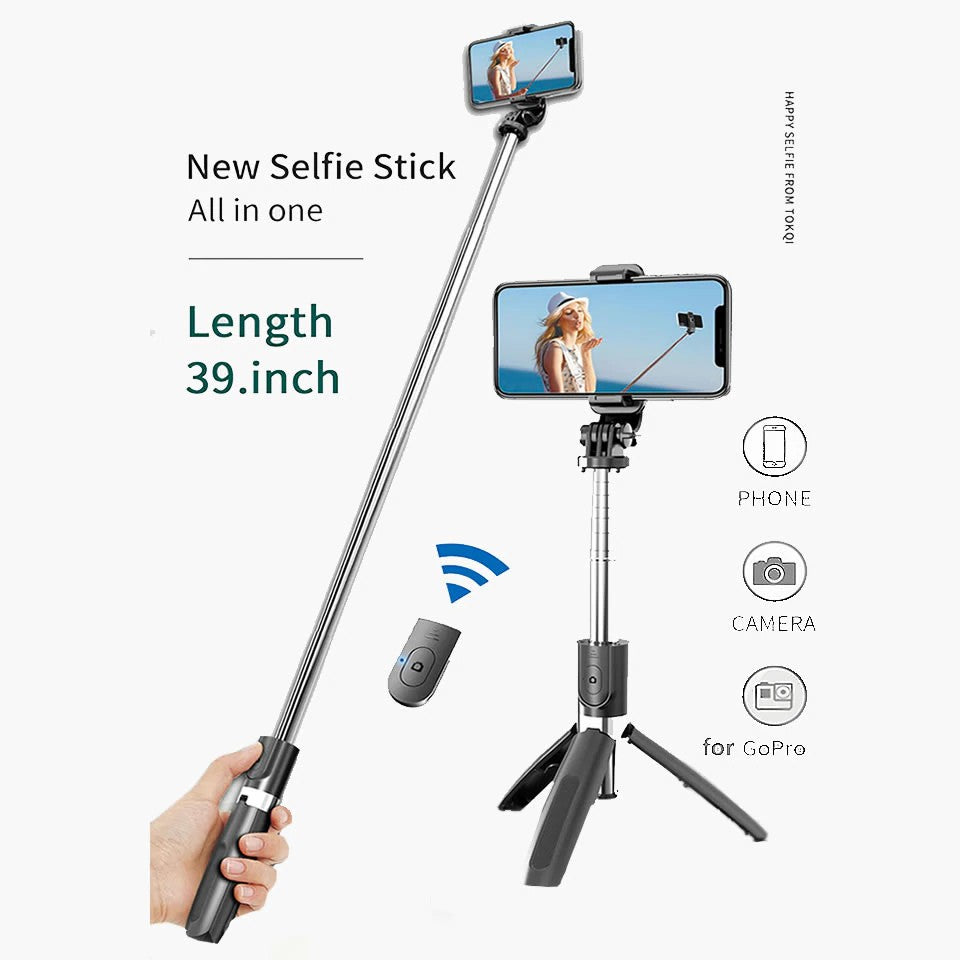 Mobile Live Support for Youtube/Tik Tok Foldable Bluetooth Selfie Stick Tripod PR11