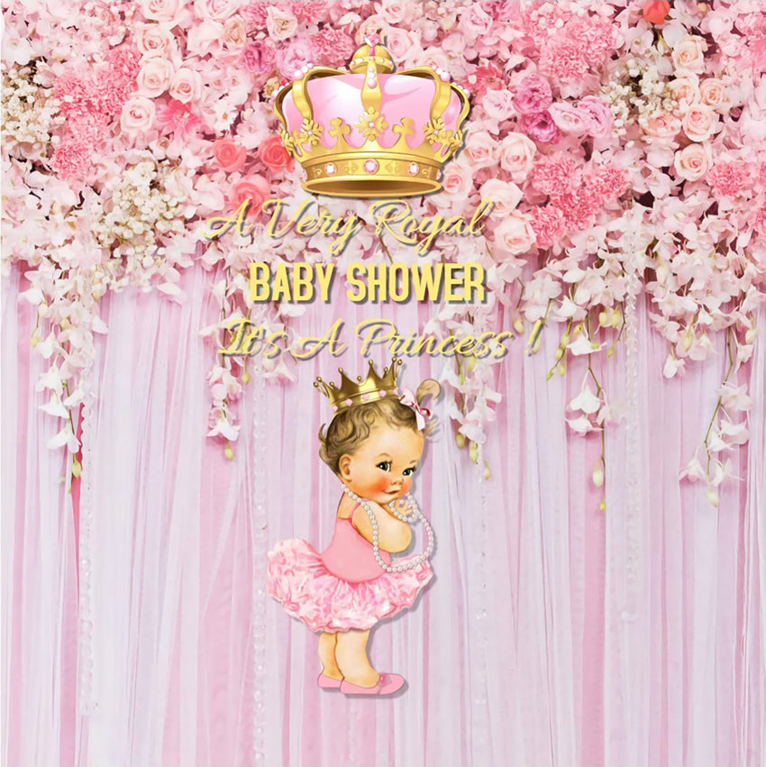 Baby Shower Pink Flowers and Crown Baby Gril Backdrop BA15