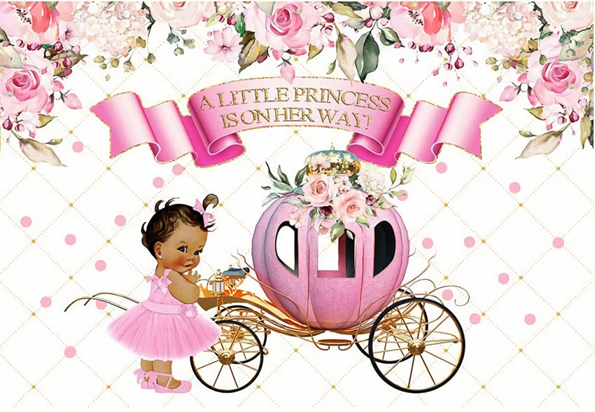 Pink Pumpkin Carriage Flower Background for Baby Photography BA27