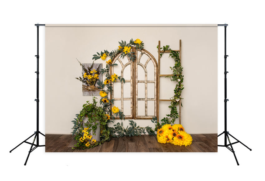 Spring Yellow Flowers Decorations Photography Backdrop Designed by Beth Hrachovina