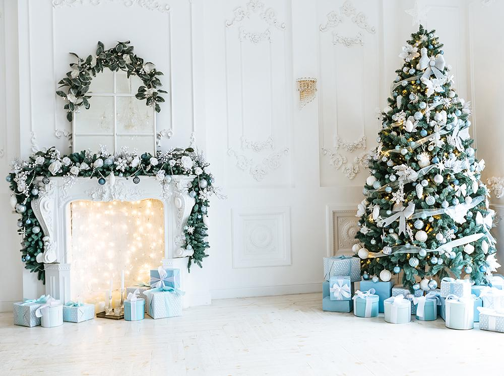 White Room Christmas Tree Gift Stove Christmas Photo Booth Backdrop DBD-19295
