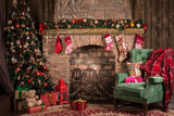 Christmas Fireplace Parlor Decorations Backdrop for Photography