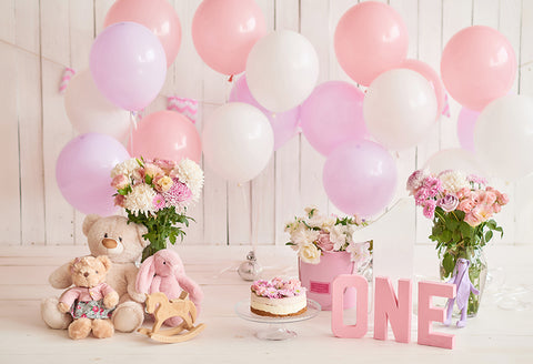 1st Birthday Decorations Balloons Cake Pink Photography Backdrop D283