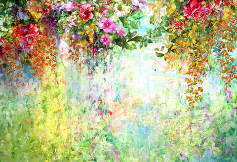 Abstract Flowers Watercolor Painting Spring Multicolored Flowers Backdrop D327