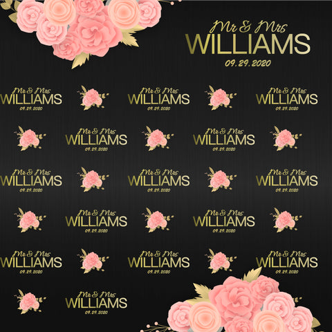 Custom Weeding Backdrop Step and Repeat Photography Backdrop D529