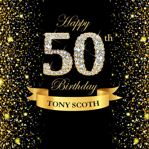 Gold and Black 50th Personized Birthday Photography Backdrop D604