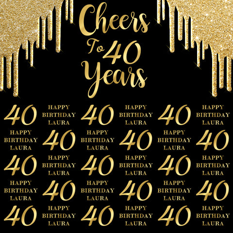 Gold Black 4oth Happy Birthday Banner Photography Backdrop D605