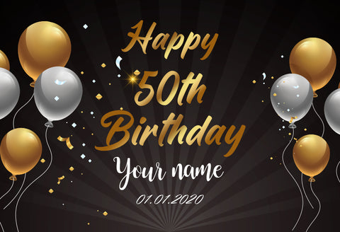 Happy 50th Birthday Gold and Black Photography Backdrop D607