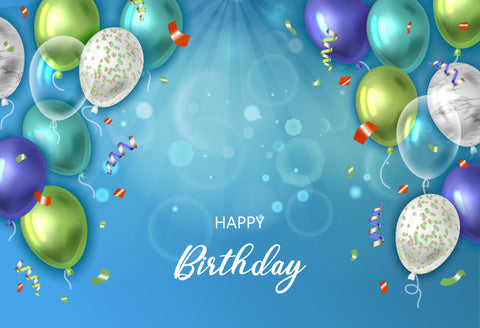 Balloons Custom Happy Birthday Blue Background Photography Backdrop D613