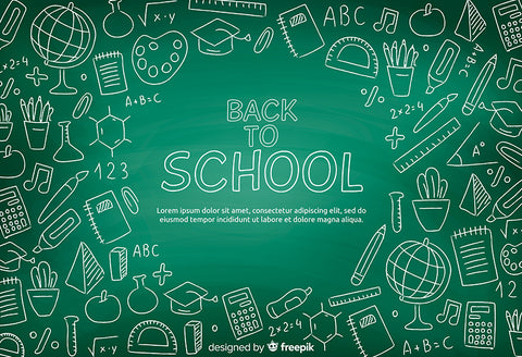 Back to School Backdrop Chalk Drawing Green Chalkboard Backdrop D644