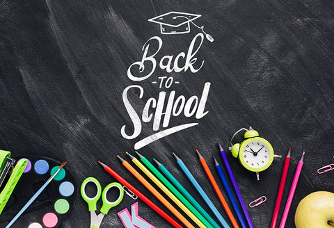 Back to School Backdrop Color Pencils Chalkboard Backdrop D646