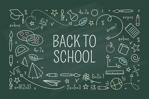 Back to School Backdrop Colorful Chalk Drawing Green Chalkboard Backdrop D649