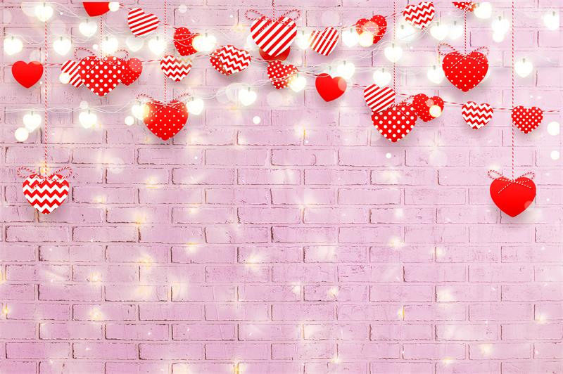 Pink Brick Hearts Valentine Backdrops for  Photo Shoot D692