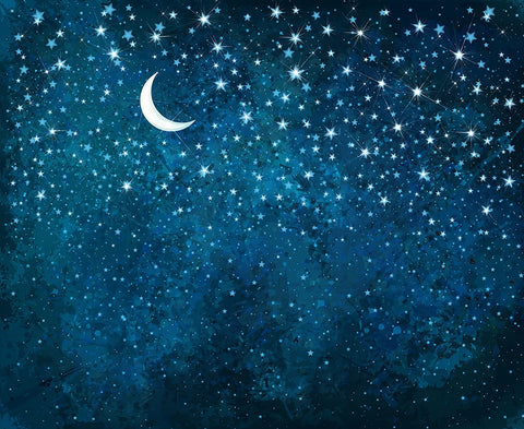 Night Sky Stars Moon Dark Blue Photo Backdrops DBD-19449