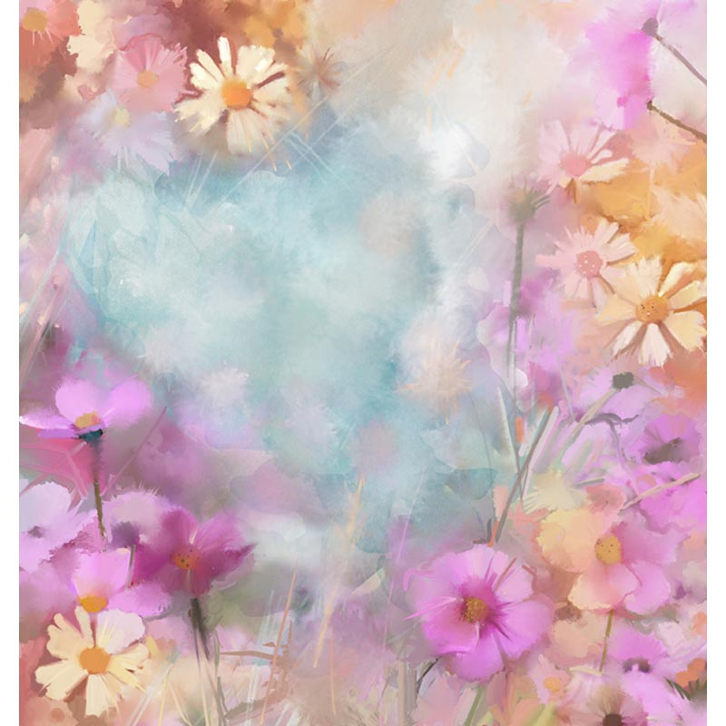 Abstract Flowers Watercolor Backdrop Lake Blue Background Photography Backdrop F-2098