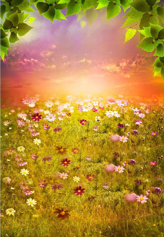 Beautiful Flowers Sunset Photography Backdrop F-2332
