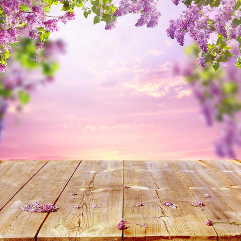 Spring Flowers Sunset Scenery Backdrop for Photo Booths F-2358
