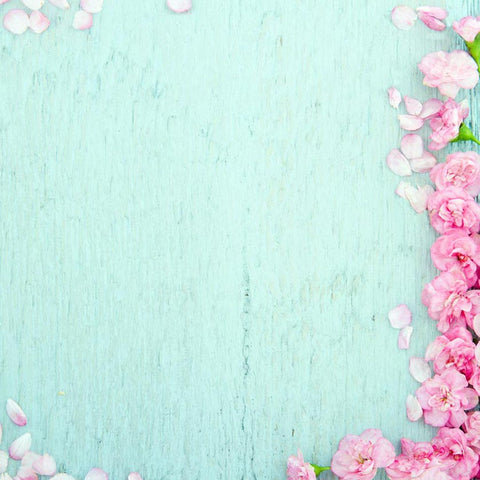 Pink Flowers Cyan Wood Floor Spring Photo Booth Backdrop F-2362