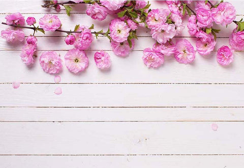 Pink Flower White Wood Floor Backdrop for Photo Booths F-2420