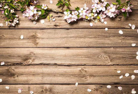 Brown Wood Texture Flowers Petals Photo Backdrop F-2428