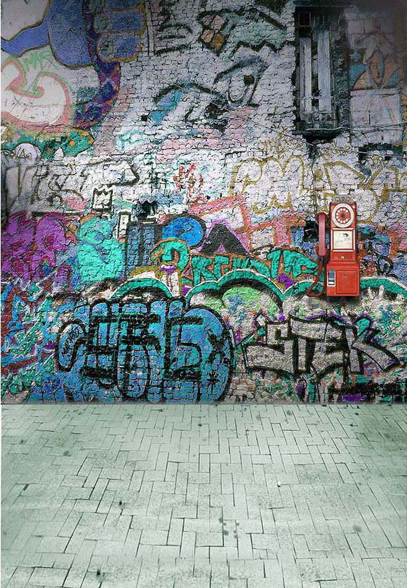 Graffiti Brick Wall Art Photography Backdrop F-2435
