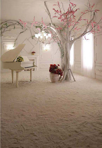 Piano Flowers Interior Architecture Photography Backdrop F-2436