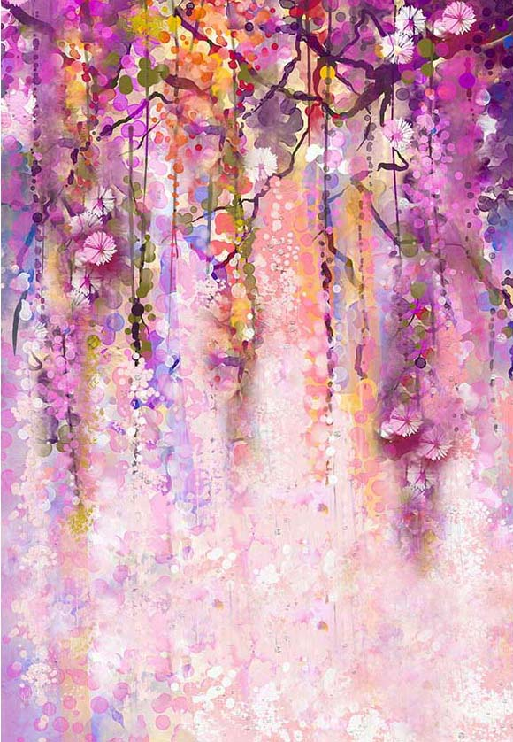 Watercolor Spring Flowers Photography Backdrop for Studio F-2445