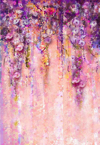 Watercolor Floral Abstract Photography Backdrop F-2446