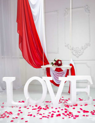 Valentine's Day Love Flower Photo Boorh Backdrop F-2928