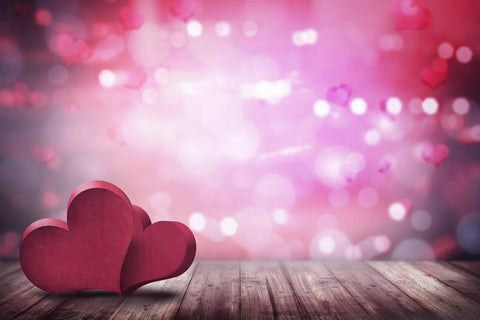 Valentine's Day Red Love Heart Bokeh Photo Backdrops F-2942