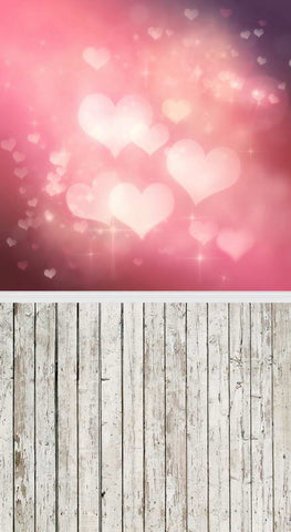 Valentine's Day Gift Love Heart Wood Floor Backdrop F-2950