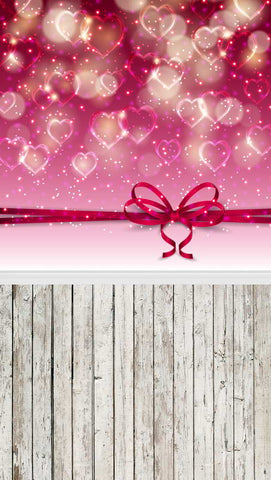 Valentine's Day Gift Love Heart Wood Floor Photo Booth Backdrop F-2969