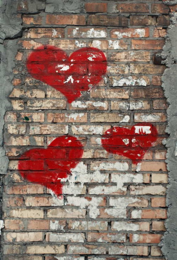 Love Heart Grunge Brick Wall Backdrop for Pictures
