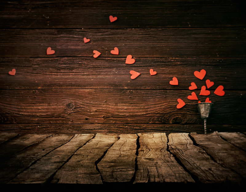 Vintage Grunge Wood Wall With Love Heart Backdrop F-2992
