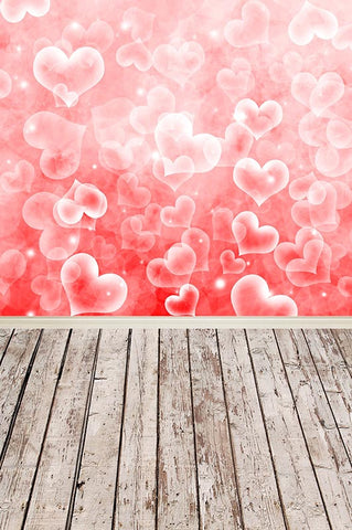Valentine's Day Backdrop Love Heart With Wood Floor Background F-3013