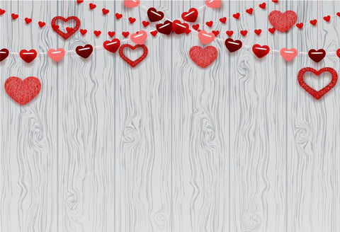White Wood Texture Love Heart Backdrops for Photography DBD-19287