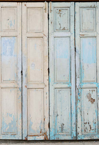 Old Blue and White Wooden Door Photography Backdrop Floor-171