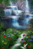 Waterfall Flowers Green Grass Photo Backdrop G-018