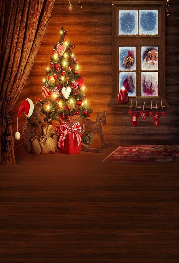 Santa Claus Christmas Tree Decoration Photography Backdrop G-022