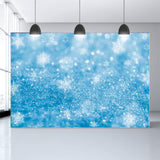 Blue Backdrop Snowflakes Background Bokeh Backdrop for Photography G-1031