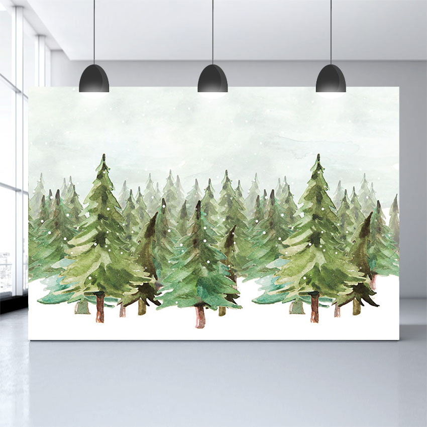 Christmas Trees Backdrop Watercolor Painting Snow Backdrop for Photography G-1202