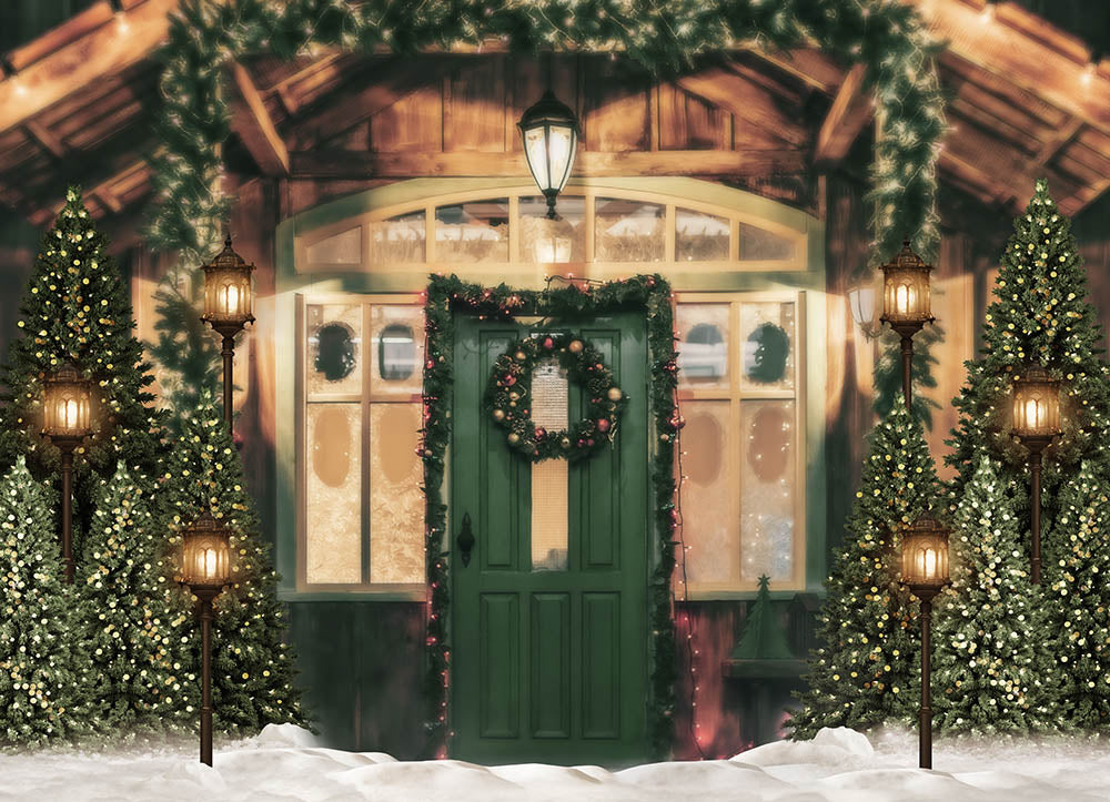 Christmas Trees Sweet Home Lamps Decoration Backdrop for Photography G-1435