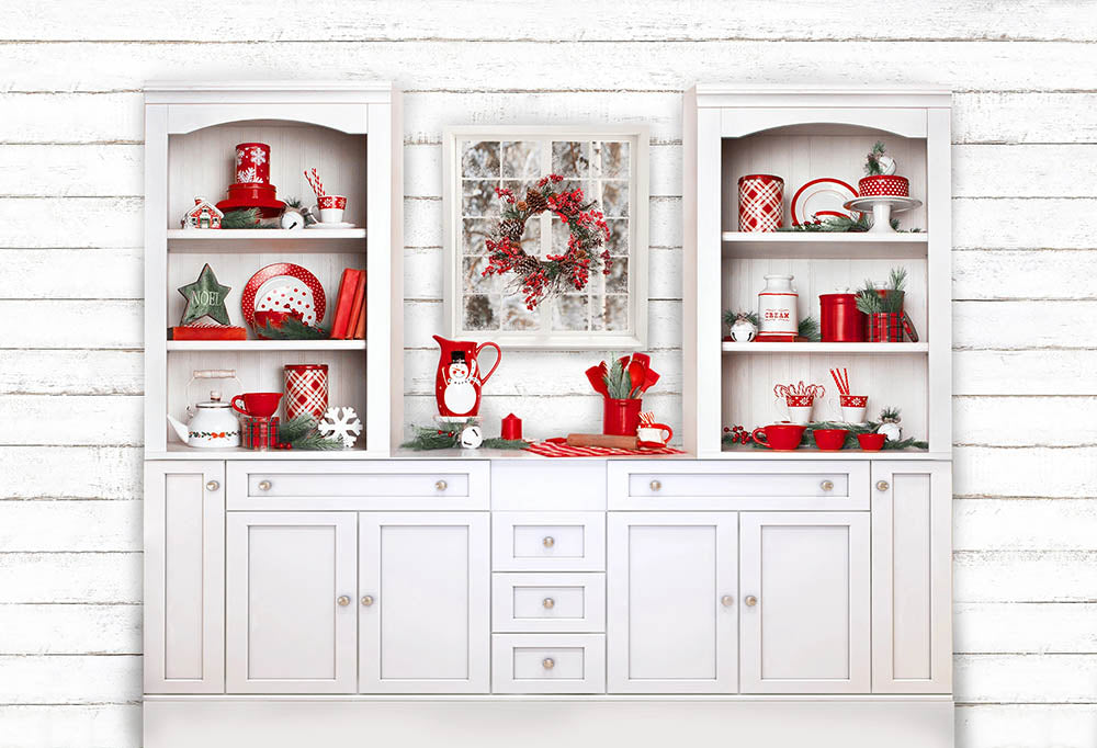 White Sideboard Christmas Tableware Wall Backdrops for Party G-1452